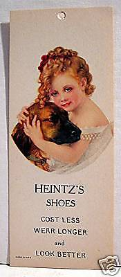 Heintz Shoes Adv Shoe Store Tag W/ Victorian Girl + Dog