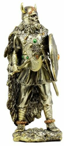 """Ebros Viking Bull Berserker Warrior with Battle Axe and Broad Shield Statue 13""""H"""