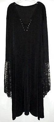 Sexy Black Velvet Lace-up Dress Witch Costume Gothic - Black Lace Kleid Kostüm