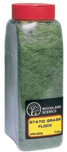 Woodland Scenics 636 Static Grass Flock Dark Green 32 oz Shaker - NIB
