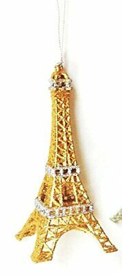 Ornament - Eiffel Tower-Gold Glittered w/ Silver Glittered Accent - 5 1/2