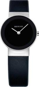 Ladies Bering Black Leather Band Black Dial Casual Watch 10126-402