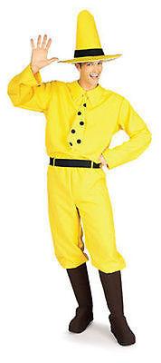 Erwachsener Mann Halloween Kostüme (Neugierig George Mann in Gelb Hut Erwachsene Herren Halloween Kostüm Affe 888027)