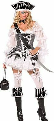Smiffys Premium Sexy Boutique Black/White Pirate Women's Halloween Costume sz M](Premium Halloween Costume)