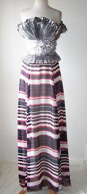 DOLCE & GABBANA D&G Silver Silk Striped Print Bustier Dress Gown 38 2
