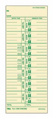 Tops Time Cards Weekly 1-sided Numbered Days 3-12 X 9 Manila Green 1256