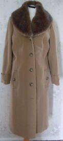 Classic Debenhams Camel Coat with detachable fur collar.