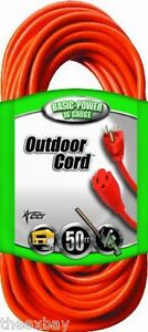 50' Foot Outlet Electrical Extension Power Cord Indoor Outdoor Cords UL