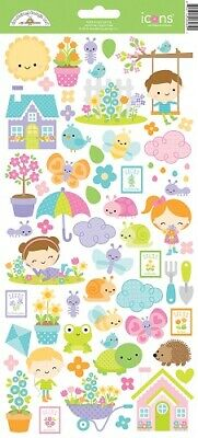 Scrapbooking Crafts Doodlebug Icon Stickers Simply Spring Sun Clouds Flowers
