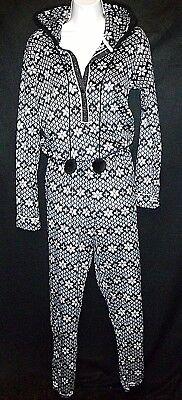 New KENSiE snowflake fleece ear hood 1-pc pajama blanket sleeper slumber party M Fleece Blanket Sleeper Pajamas