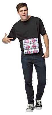 New Mens Six Pack Shirt Costume 3D Beer Cans Black T-Shirt One Size - Six Pack Costume