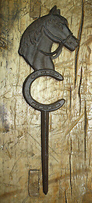 Cast Iron HORSE HEAD Hose Guide Garden Stake Home Decor Plaque Western -