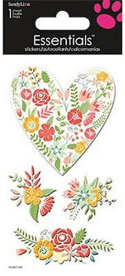 Scrapbooking Dimensional Stickers Crafts Heart Roses Rosettes Flowers Bouquet