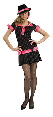Gangsta Girl Pink Gangster Moll Mobster Dress Up Halloween Sexy Adult Costume