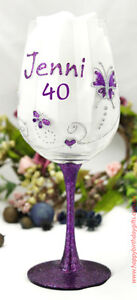 40th Birthday Butterfly Glass - Hand Painted - Birthday Gift / Present