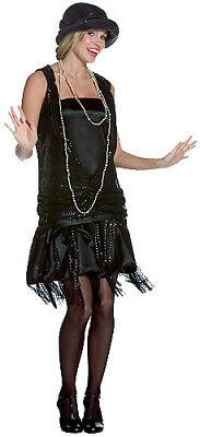 Gatsby Girl 20's Flapper Black Deluxe Adult Costume - Gatsby Girl Flapper Costume