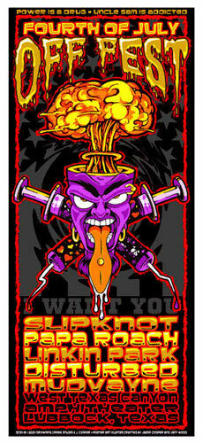 Off Fest 2001 Silkscreen Poster by Jeff Wood Linkin Park Slipknot Disturbed MINT
