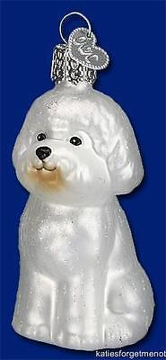 BICHON FRISE OLD WORLD CHRISTMAS BLOWN GLASS DOG PUPPY DOG ORNAMENT NWT 12298