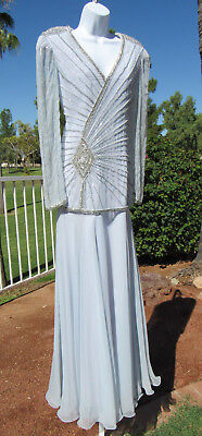VTG 1970s 80s ROSE TAFT COUTURE FASHIONS BEADED MOTHER OF BRIDE DRESS STEEL BLUE