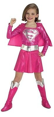 Girls Pink Supergirl Superman Super Hero Book Day Fancy Dress Costume - Pink Superman Costume