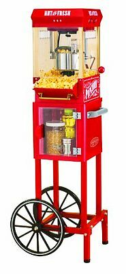 الة صنع الفشار جديد Nostalgia Electrics Popcorn MAKER CART, 2.5 Ounce Vintage POPCORN MACHINE, Red