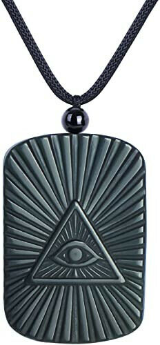 Obsidian Carved Yin Yang Ba Gua Pendant Necklace Lucky Amulet Jewelry Bead Chain - $22.99