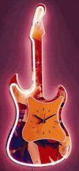 Neon Electric Rock Guitar Shaped Wall Clock Bar Sign Light Pink NEW