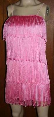 Women's Pink 1920's Deluxe Flapper 4 Tiered Fringe Costume Dress Beaded - Pink Flapper Dress
