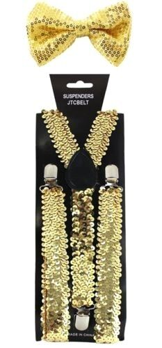 New Gold Glitter Suspenders Sequin Shiny Bow Tie Set Classic Dance Tuxedo Combo