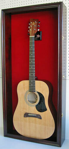Acoustic Guitar Display Case Wall Cabinet, UV Protect Door w/ Lock