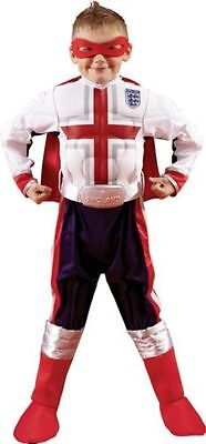 Boys White England Football Christmas Costume Superhero Mask Cape & Belt (Football Costumes For Boys)