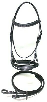 COB Black Leather Raised Fancy Stitched English Bridle w/ Rubber Grip Reins