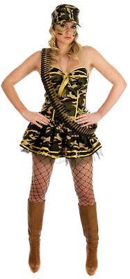 Commando Girl - Halloween Womens Fancy Dress Outfit - Army - Large - Medium