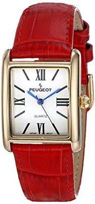 Peugeot Women's 14K Gold Plated Tank Leather Dress Watch 3036RD