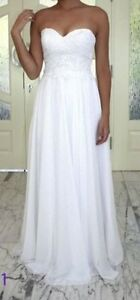 NEW White Bridal Chic Strapless Wedding Dress Gown Lace & Chiffon Darlington Inner Sydney Preview