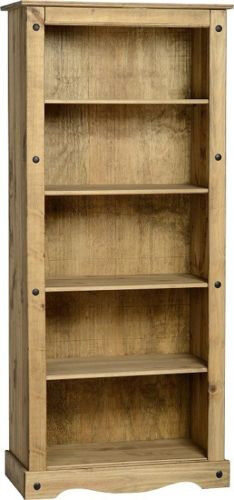 Tall Pine Bookcase 5 Book Shelves Corona Mexican Solid Wood Living Room