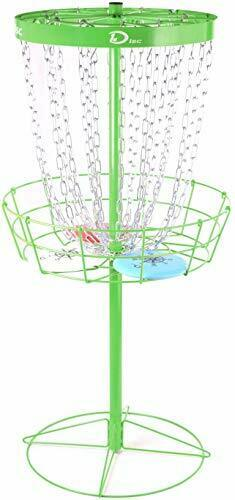 Pro 24-Chain Portable Disc Golf Basket with 3 Disc,Metal Disc Golf Target Green