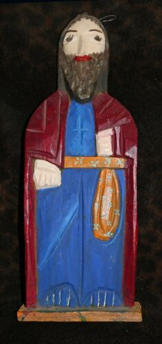 """Carved & Painted Wood Saint (Bulto) (New Mexico?) 15 1/4""""h x 5 1/2""""w x 2""""d"""