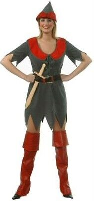New Sexy Robin Hood Dress & Hat Womens Fancy Dress Costume Size 12 (Robin Hood Kostüme Hat)