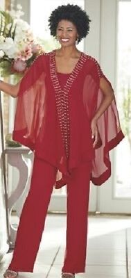 Ashro Red Silver Beaded Formal Pant Suit Dinner Party Cruise S M L XL 1X 2X 3X