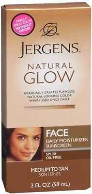 Jergens Natural Glow Daily Facial Moisturizer SPF 20, Medium To Tan 2 oz 2pk ()