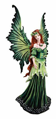 """Ebros Amy Brown Large Lady of The Forest Green Tribal Fairy Figurine 19.5"""" H"""