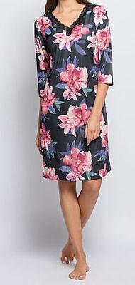 Nachthemd - Gr. 40/42 - schwarz/rosa - Blütendruck - Spitze - Bigshirt - Pyjama ()