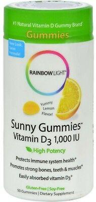 Rainbow Light Vitamin D3 1000 Iu Sunny Gummies Lemon 50 Ea  Pack Of 3
