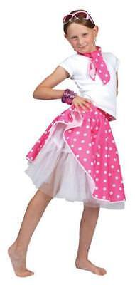 Girls 50s Pink Rock n Roll Skirt Fifties Childs Fancy Dress Kids 1950s Outfit - Kids 50s Outfits