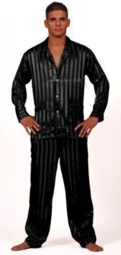 Black Silk Pajamas: Mens Black Silk Pajamas