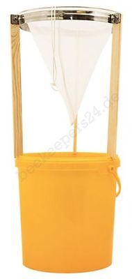 Honig Sieb-Set - Spitzsieb extra fein, Stativ und 25 kg Honigeimer, Honigsieb