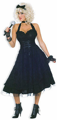 80s Girlie Madonna Material Girl Black Pop Star Dress Up Halloween Adult Costume