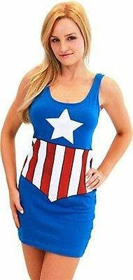 Original Captain America Marvel Comics Kostüm Junior Cosplay Tank-Kleid (Original Kostüm Weiblich)