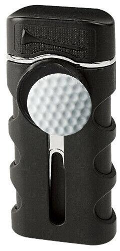 Black Matte Vector Caddie Single Flame Jet Torch Cigar Butane Lighter - 9312
